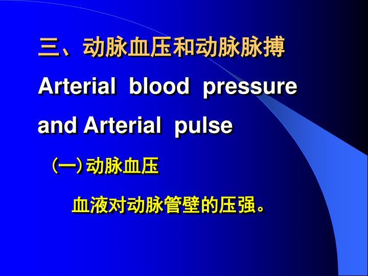 三、动脉血压和动脉脉搏