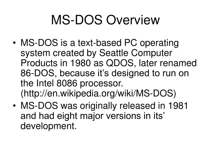 Ms dos overview