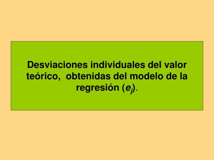 Desviaciones individuales del valor teórico,  obtenidas del modelo de la regresión (