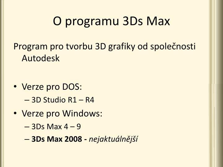 O programu 3Ds Max