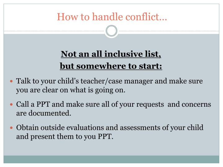 How to handle conflict…