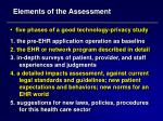 elements of the assessment