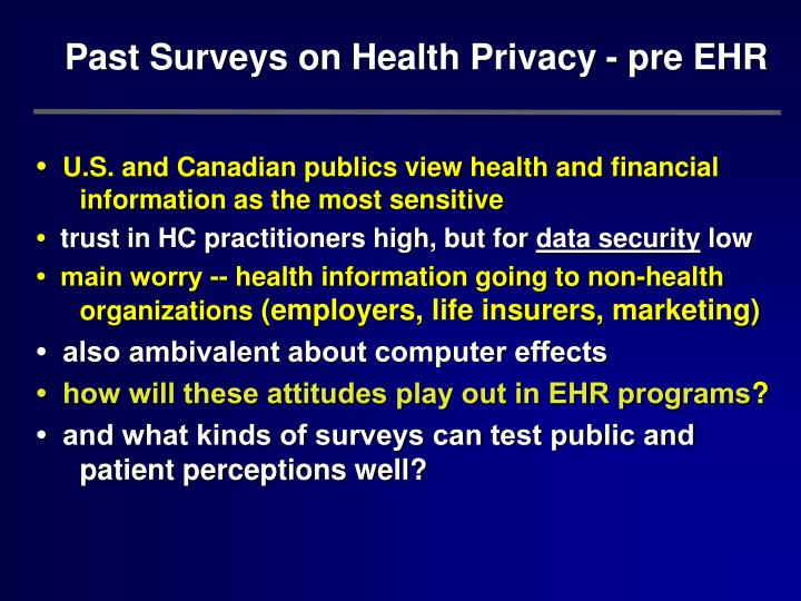 Past surveys on health privacy pre ehr