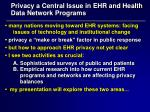 privacy a central issue in ehr and health data network programs