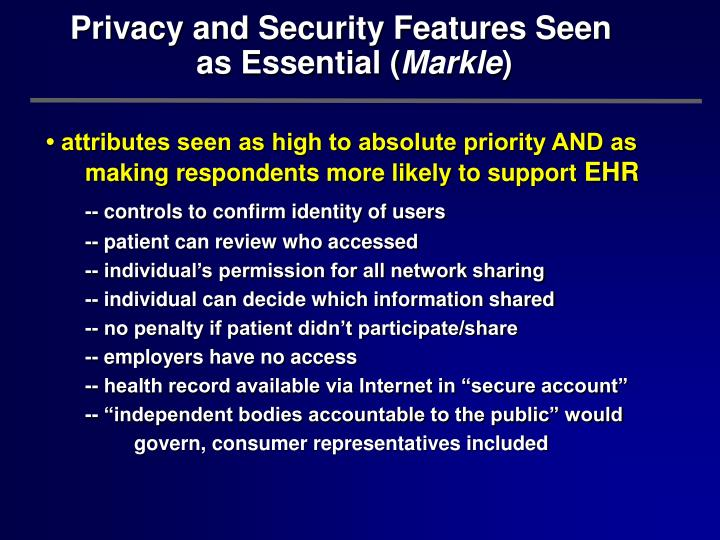 Privacy and Security Features Seen          as Essential (