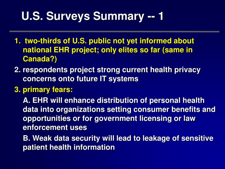 U.S. Surveys Summary -- 1