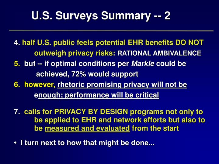 U.S. Surveys Summary -- 2
