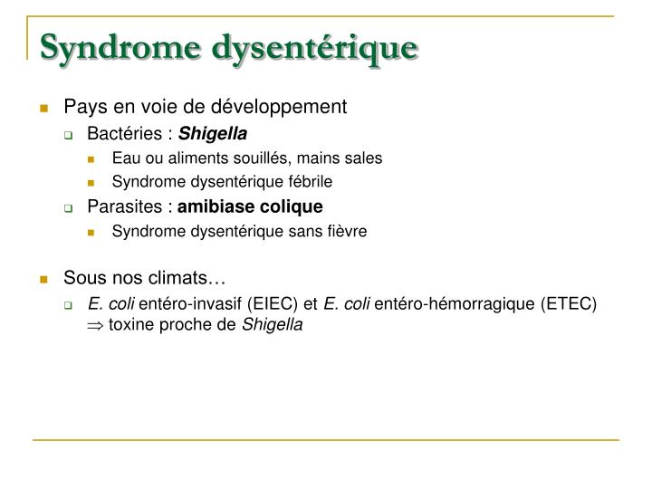 Syndrome dysentérique