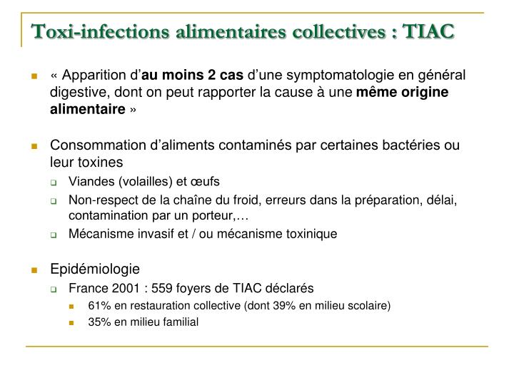 Toxi-infections alimentaires collectives : TIAC