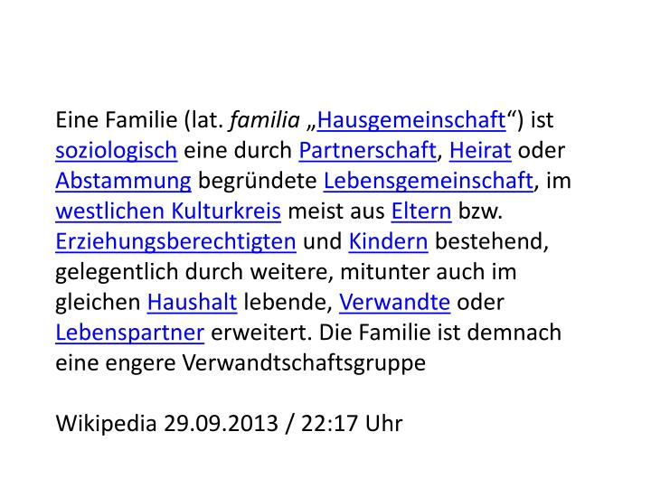 Eine Familie (lat.