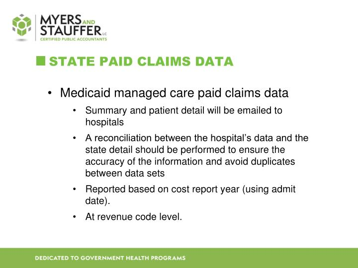 State paid claims data