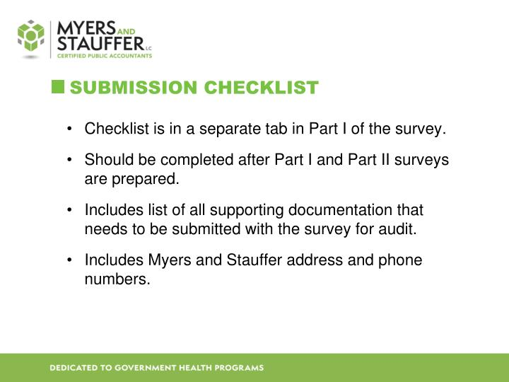 Submission checklist