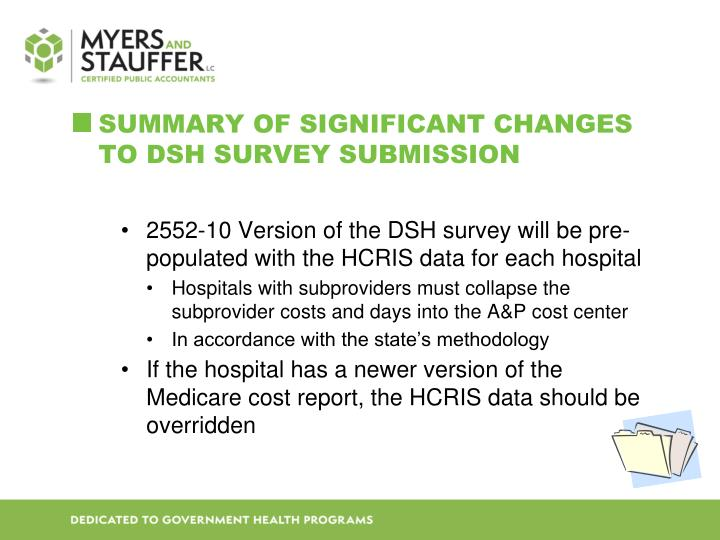 Summary of Significant Changes to DSH Survey Submission