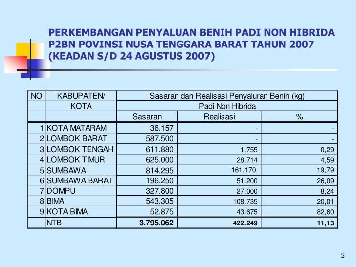PERKEMBANGAN PENYALUAN BENIH PADI NON HIBRIDA P2BN POVINSI NUSA TENGGARA BARAT TAHUN 2007              (KEADAN S/D 24 AGUSTUS 2007)