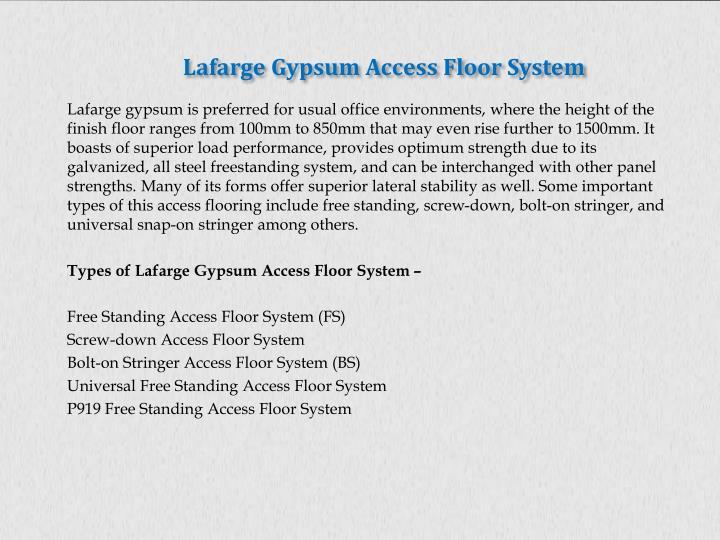 Lafarge Gypsum Access Floor System