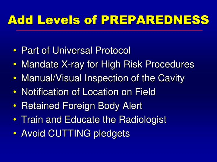 Add Levels of PREPAREDNESS