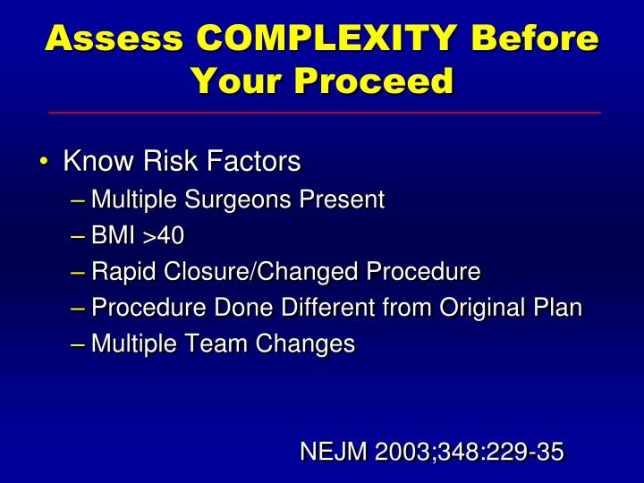 Assess COMPLEXITY Before Your Proceed