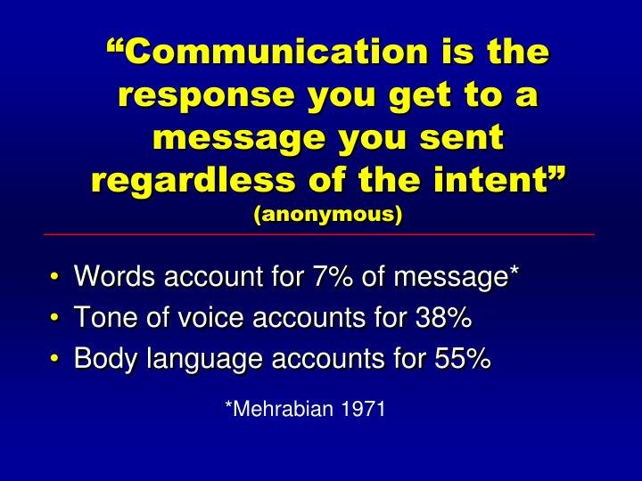 """Communication is the response you get to a message you sent regardless of the intent"""