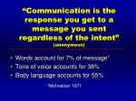communication is the response you get to a message you sent regardless of the intent anonymous