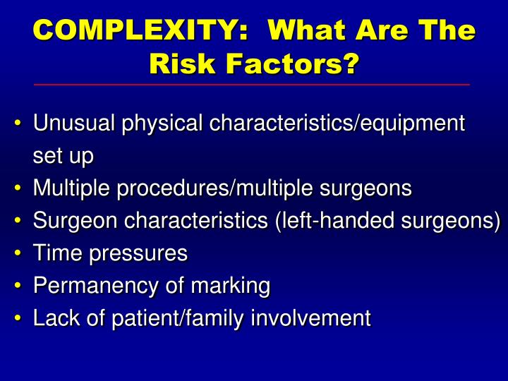 COMPLEXITY:  What Are The Risk Factors?