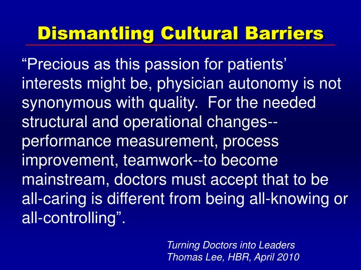 Dismantling Cultural Barriers