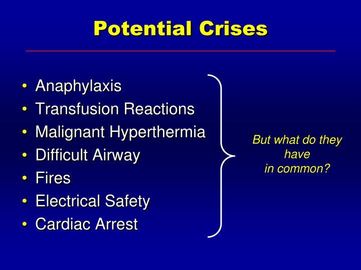 Potential Crises