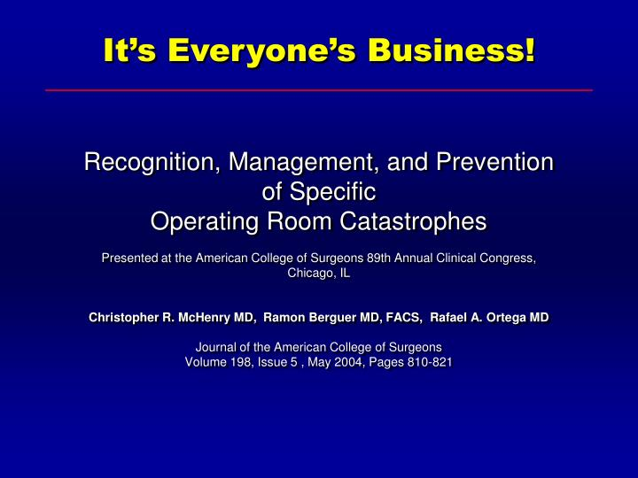 Recognition, Management, and Prevention