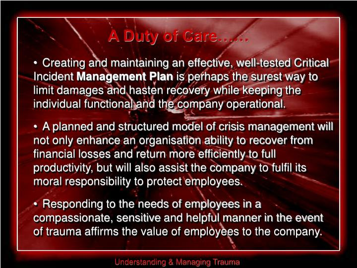 A Duty of Care……