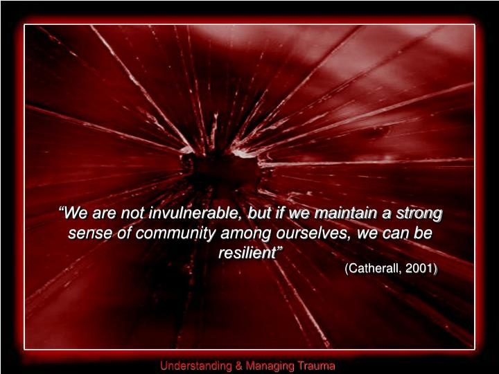 """We are not invulnerable, but if we maintain a strong sense of community among ourselves, we can be resilient"""