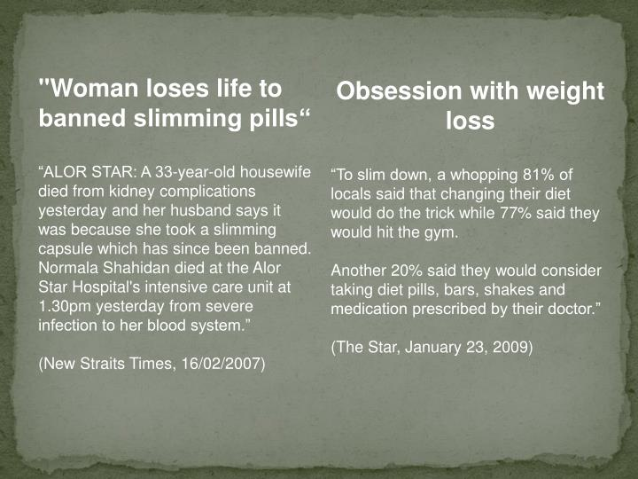 """""""Woman loses life to banned slimming pills"""""""