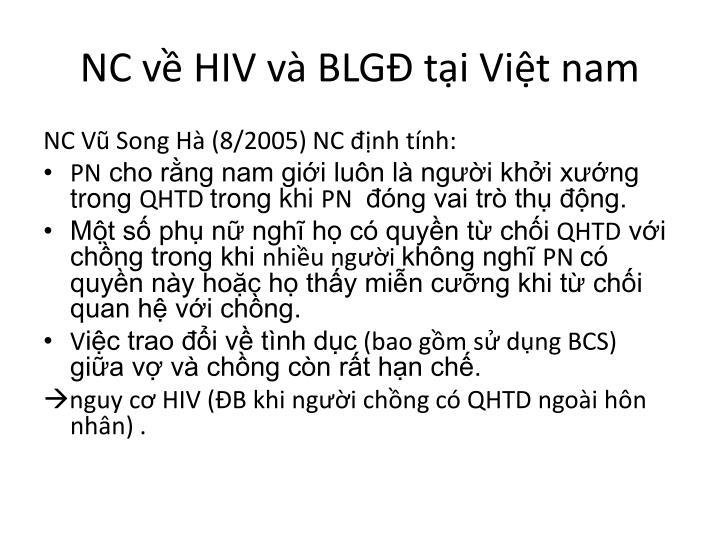 NC về HIV và BLGĐ tại Việt nam