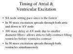 timing of atrial ventricular excitation