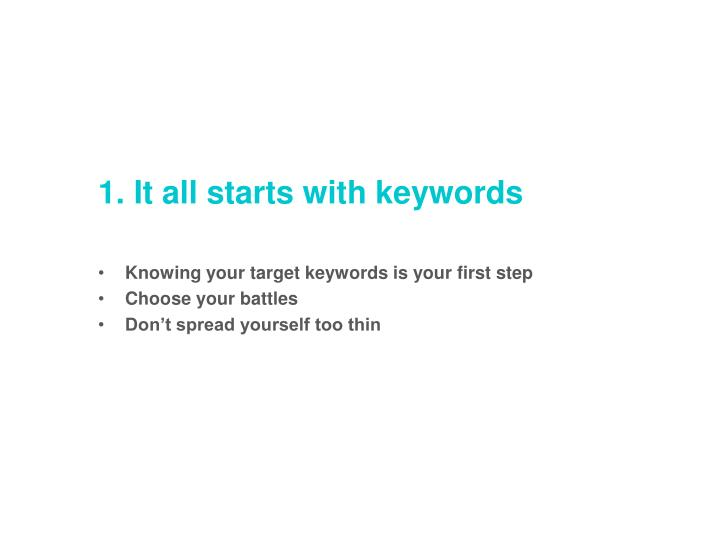 1. It all starts with keywords