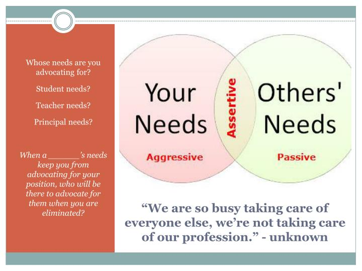 Whose needs are you advocating for?