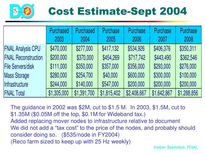 Cost Estimate-Sept 2004
