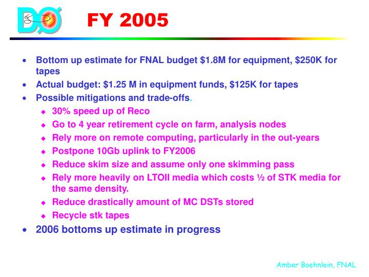 Bottom up estimate for FNAL budget $1.8M for equipment, $250K for tapes