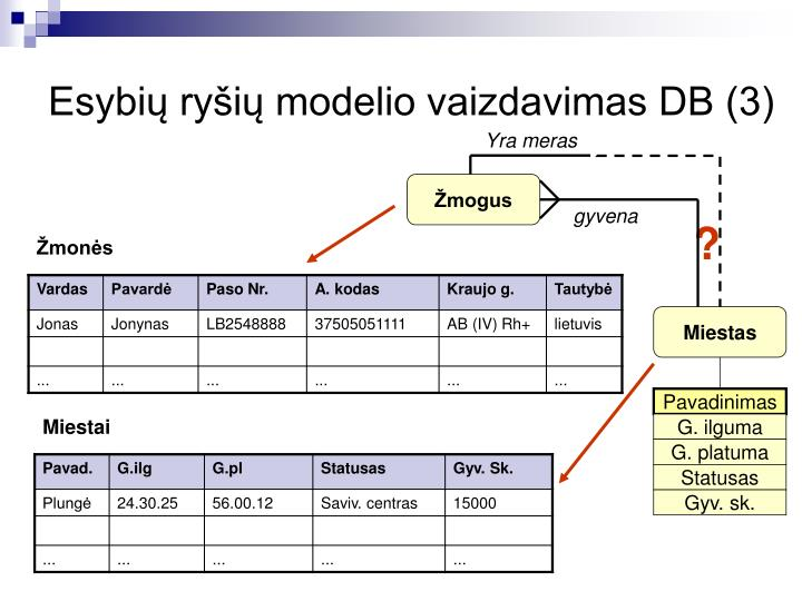 Esybių ryšių modelio vaizdavimas DB (3)