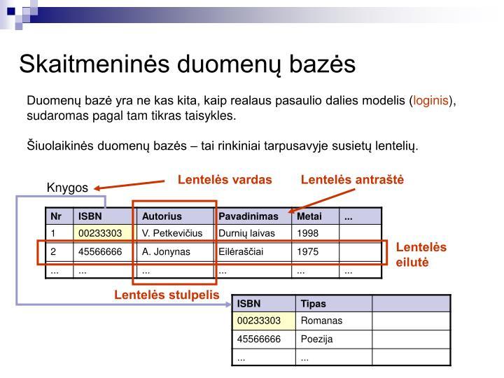 Skaitmeninės duomenų bazės