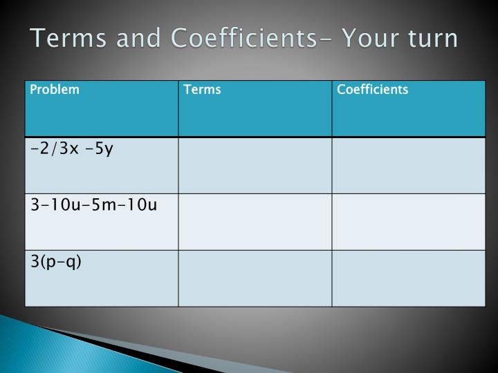 Terms and Coefficients- Your turn