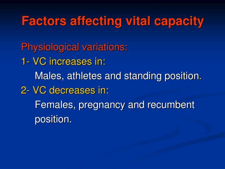 Factors affecting vital capacity