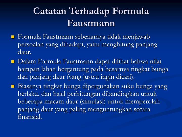 Catatan Terhadap Formula Faustmann
