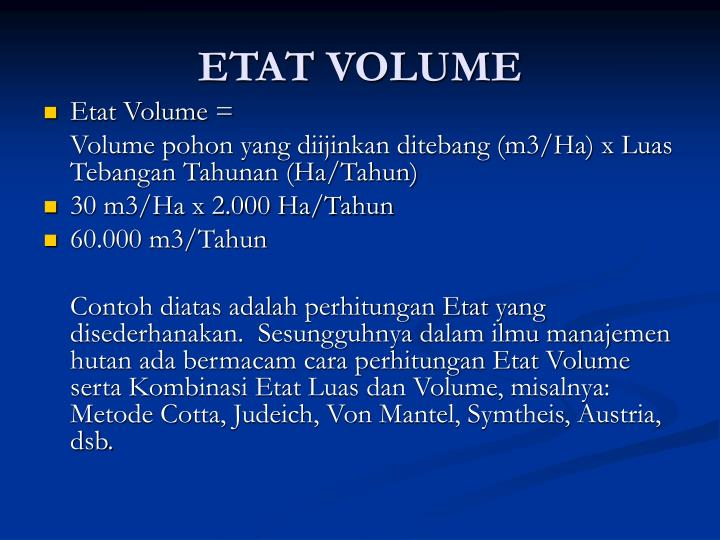 ETAT VOLUME