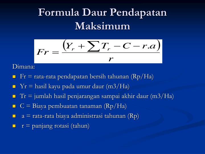 Formula Daur Pendapatan Maksimum