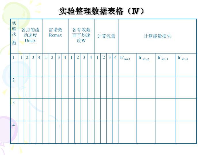 实验整理数据表格(