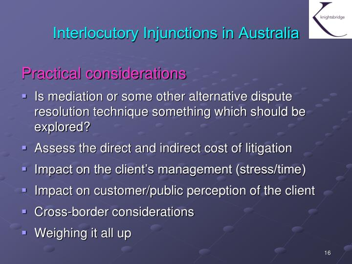 Interlocutory Injunctions in Australia