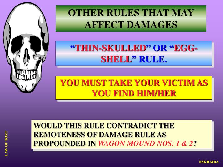 OTHER RULES THAT MAY AFFECT DAMAGES