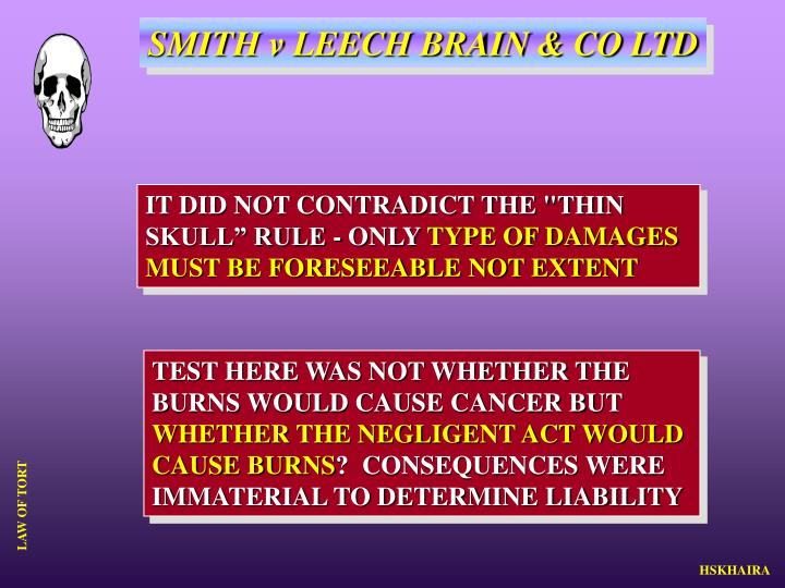 SMITH v LEECH BRAIN & CO LTD