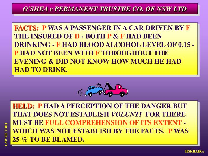 O'SHEA v PERMANENT TRUSTEE CO. OF NSW LTD