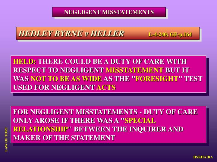 NEGLIGENT MISSTATEMENTS