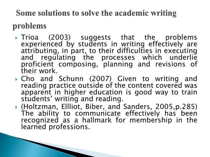 Some solutions to solve the academic writing problems